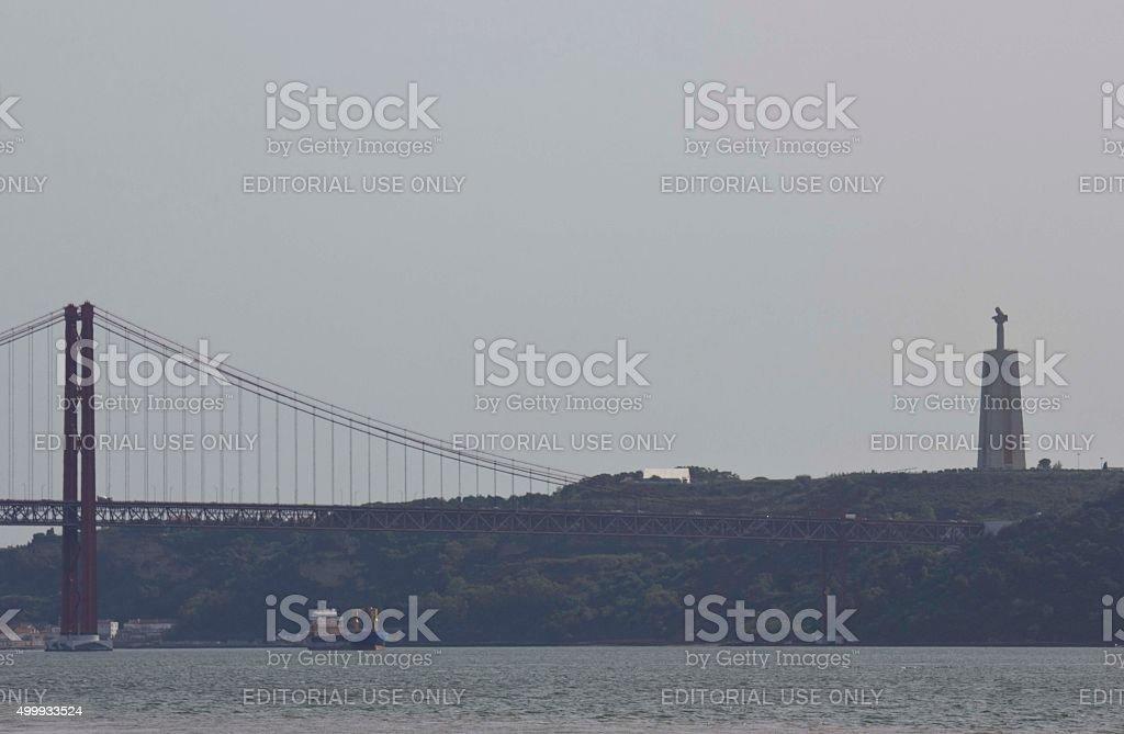 View of 25th of April Bridge and Cristo Rei stock photo