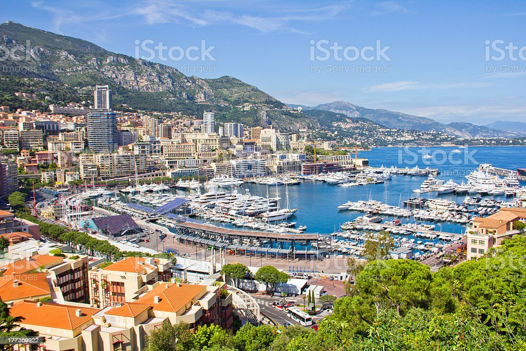 A view of a bay in Monaco during the Formula One period stock photo