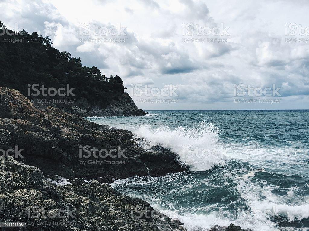 View of a bay on Ligurian Coast stock photo
