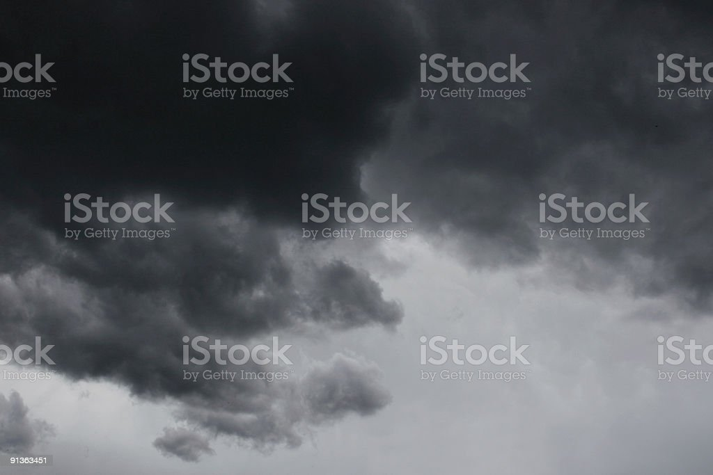 View of a black and white stormy sky royalty-free stock photo