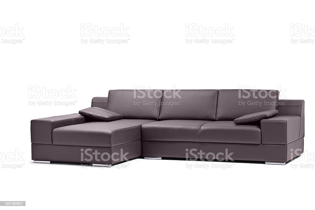 View of a black leathered sofa royalty-free stock photo