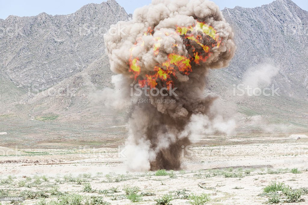 View of a bomb explosion stock photo