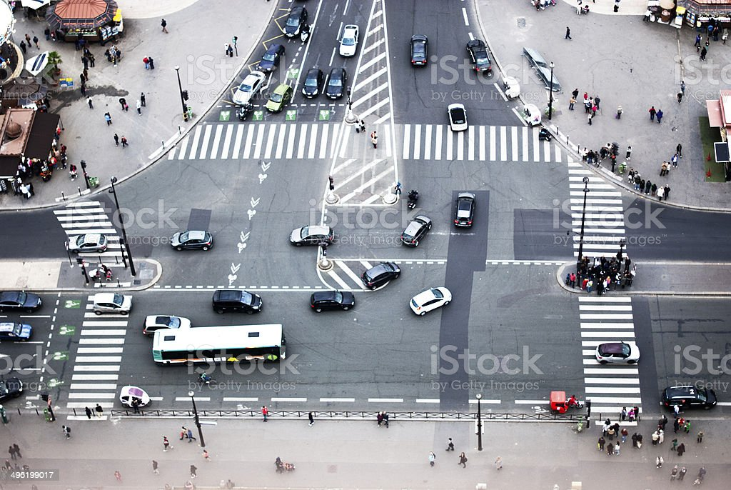 view of a boulevard from the Eiffel Tower stock photo