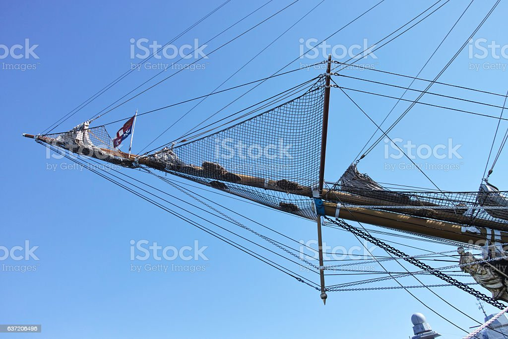 View of a bowsprit of a large wooden sailboat stock photo