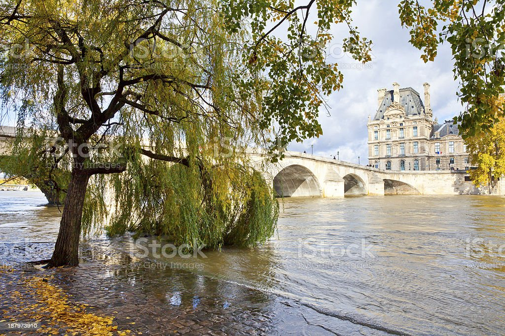 A view of a bridge in Paris, France stock photo