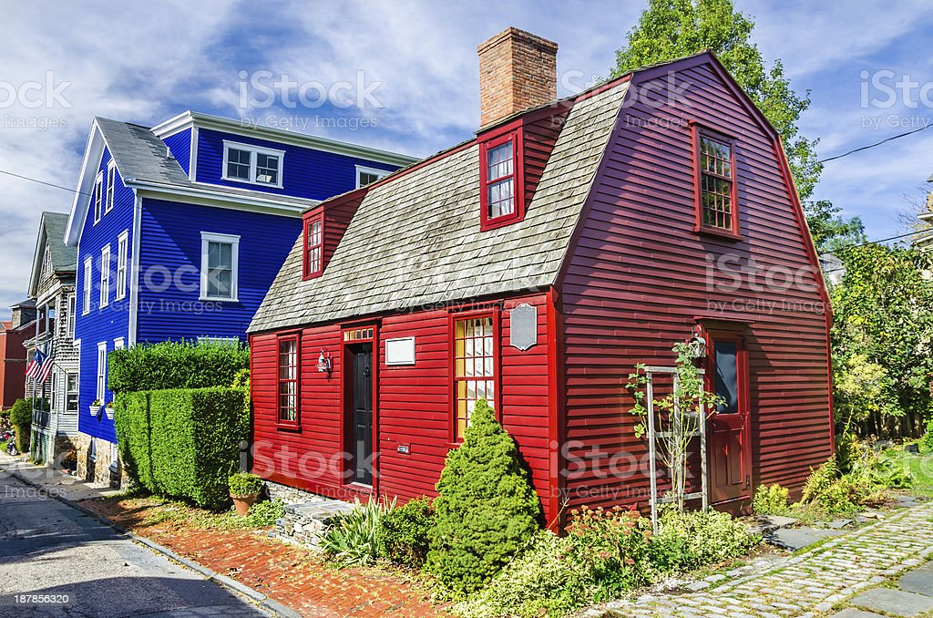 A view of a bright red New England house stock photo