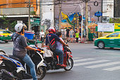 View of a busy street in Bangkok, Thailand.