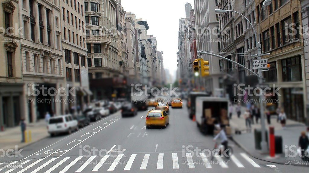 View Of A Busy Street In Manhattan New York City.USA stock photo