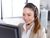 View of a call center operator
