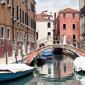 View of a canal in Dorsoduro Venice at day