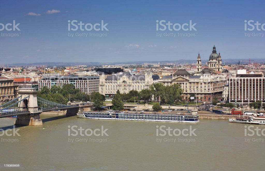 View of a chain bridge and St. Stephen's Basilica royalty-free stock photo