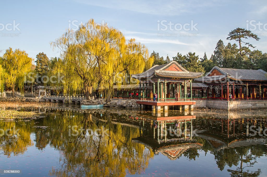 view of a Chinese park in autumn stock photo