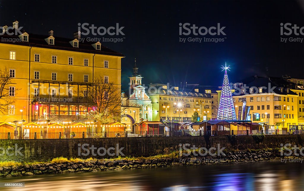 View of a Christmas market in Innsbruck - Austria stock photo