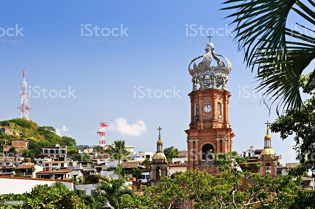 A view of a church in Puerto Vallarta in Jalisco Mexico stock photo