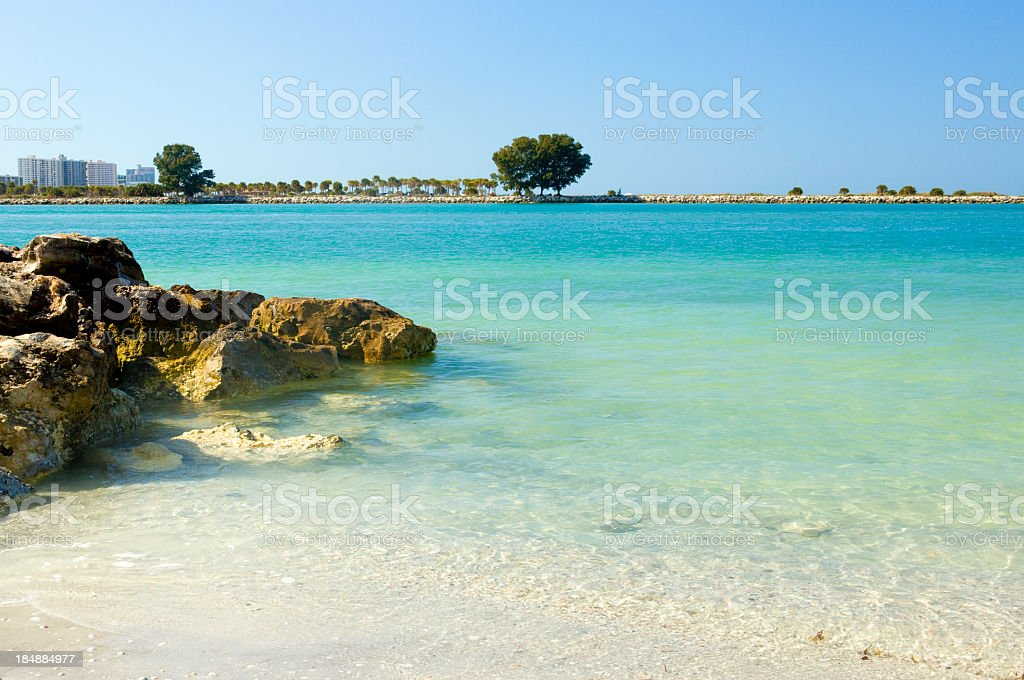 A view of a clear beach during a summer vacation stock photo