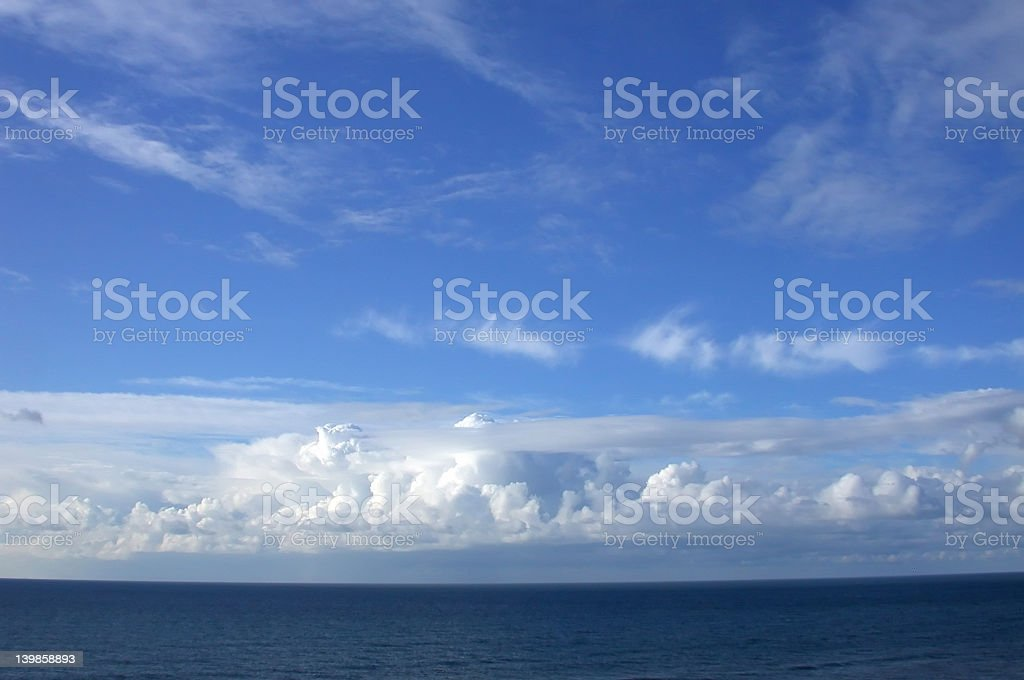 View of a cloudy sky and the sea and horizon royalty-free stock photo