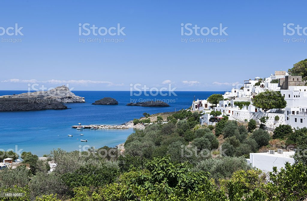 View of a coastline in Greece on a sunny day stock photo