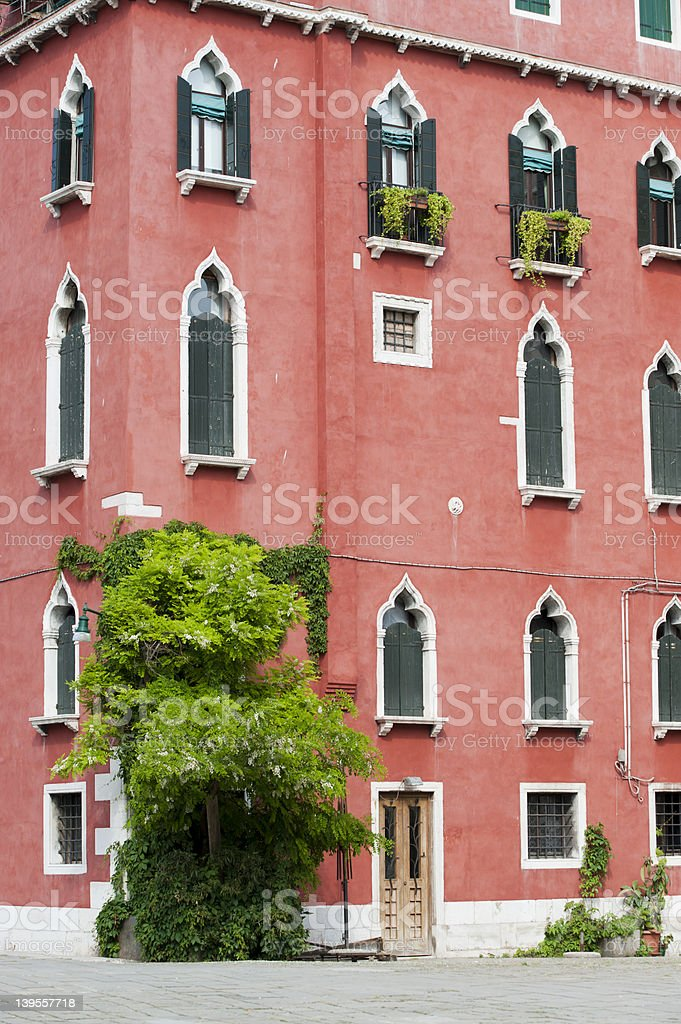 View of a colorful palace in Venice royalty-free stock photo