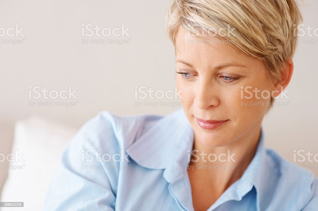 View of a contemplative mature adult woman royalty-free stock photo