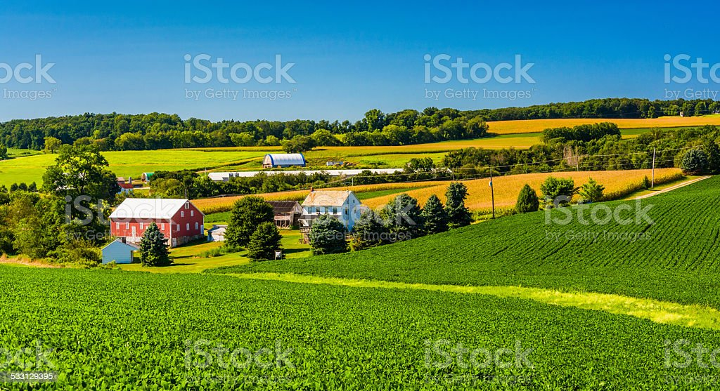 View of a farm in rural York County, Pennsylvania. stock photo