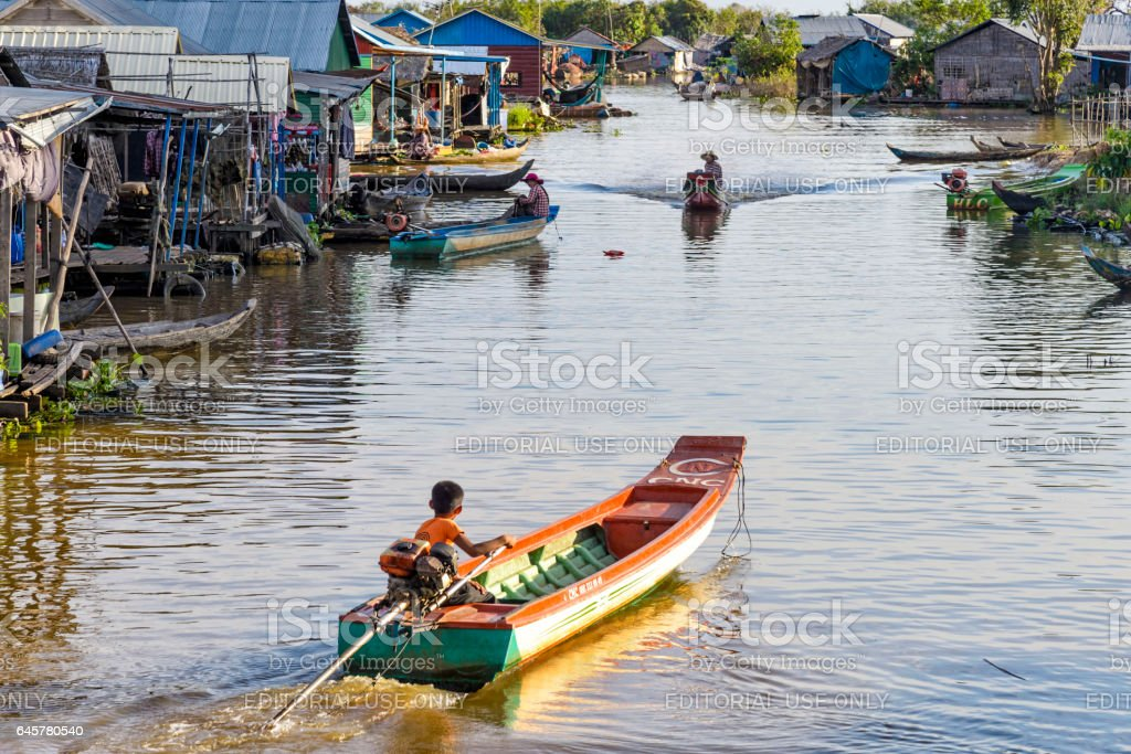 View of a floating village on Tonle Sap lake, Cambodia stock photo