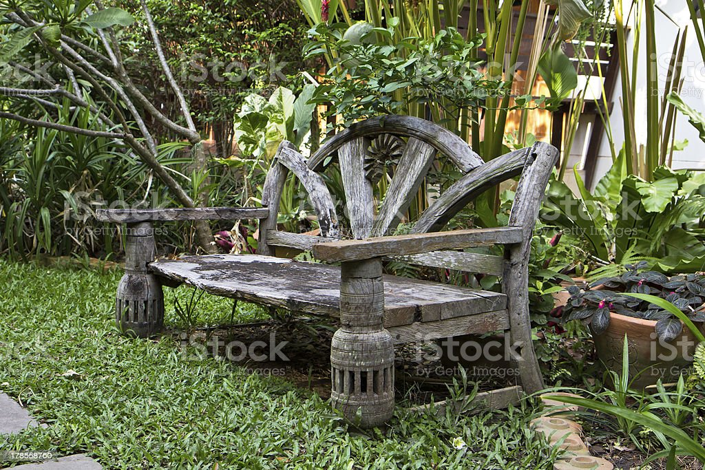 view of a garden bench vintage royalty-free stock photo