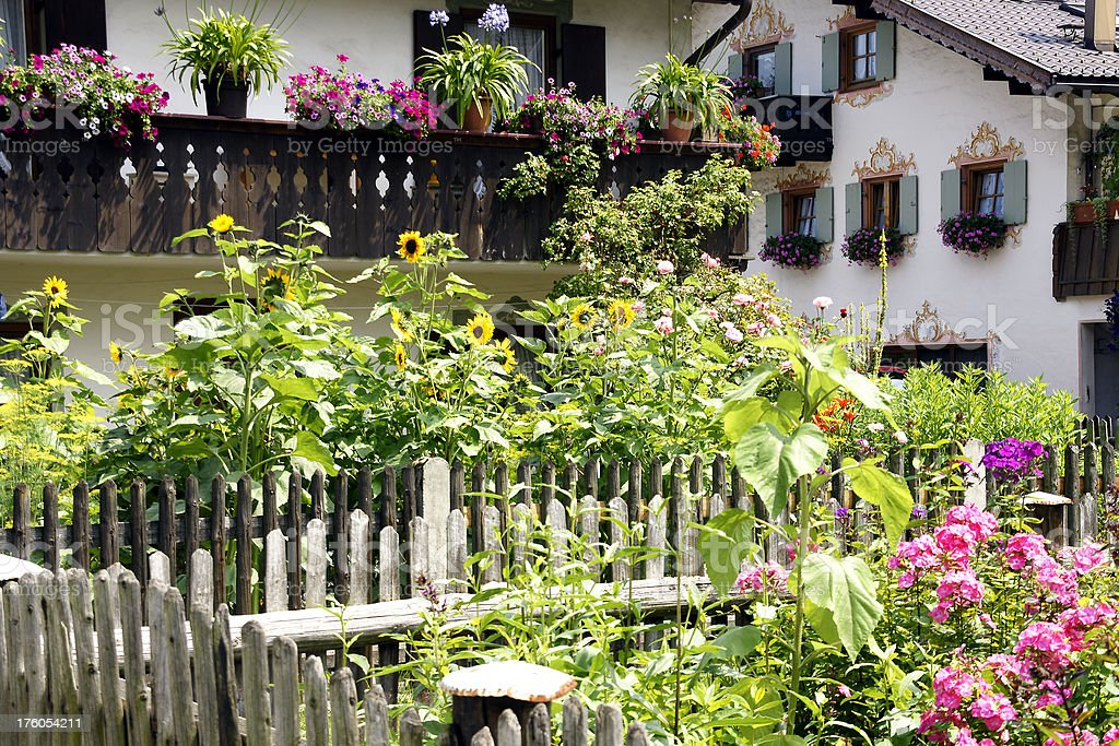 View of a garden in bavaria royalty-free stock photo