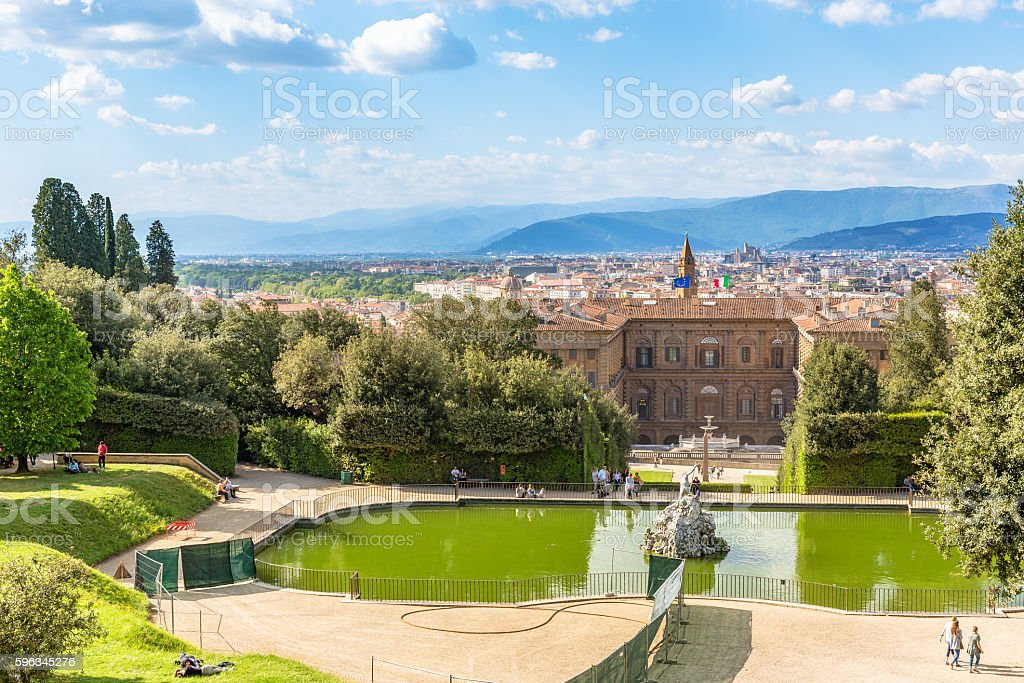 View of a garden in Florence stock photo
