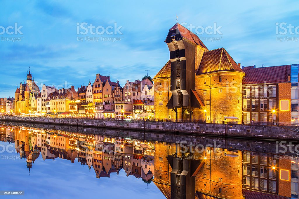 View of a Gdansk port in the dusk, Gdansk, Poland stock photo