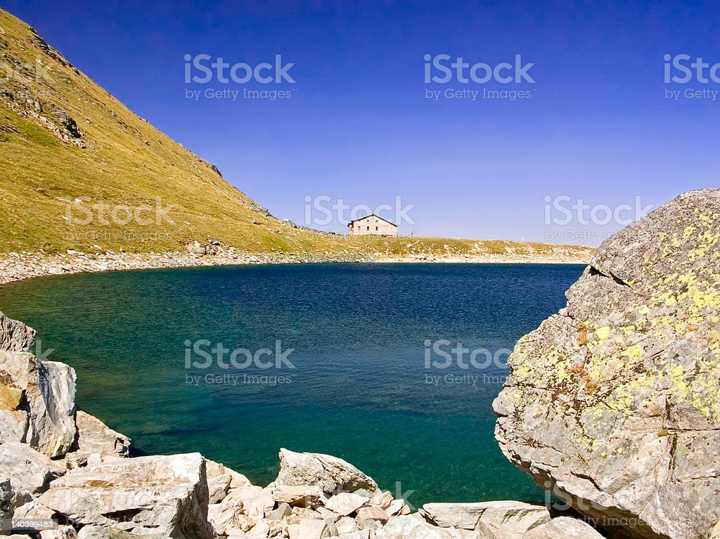 View of a glacial lake in national park Pelister, Macedonia royalty-free stock photo