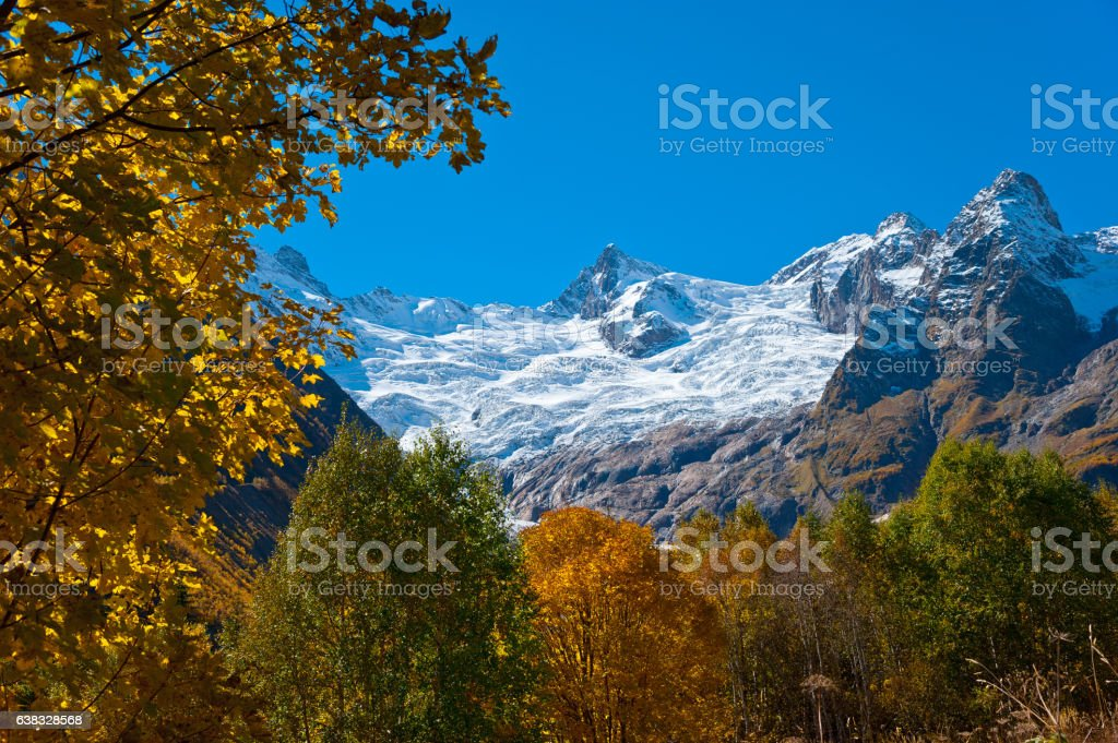 View of a glacier Alibek. stock photo