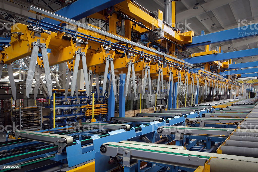 View of a machine in aluminium factory, horizontal composition. stock photo