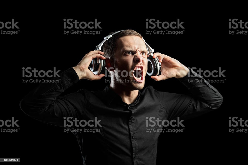 View of a man with headphones stock photo