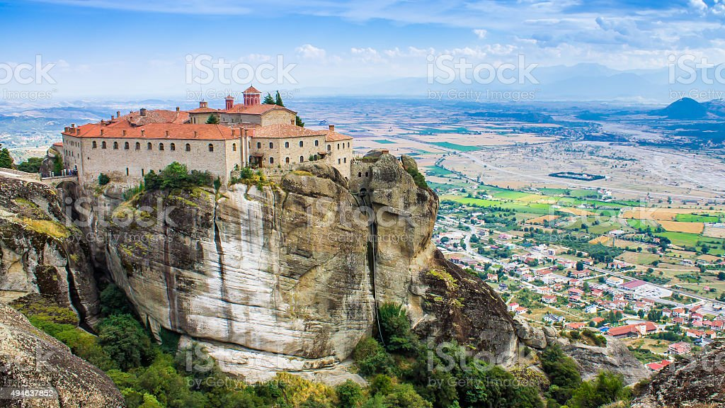 view of a monastery at Meteora, Greece stock photo