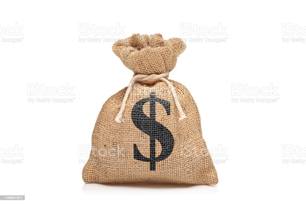 View of a money bag with US dollar sign stock photo