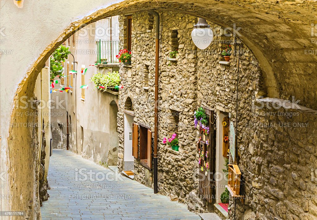 View of a narrow street of the village of Bard stock photo