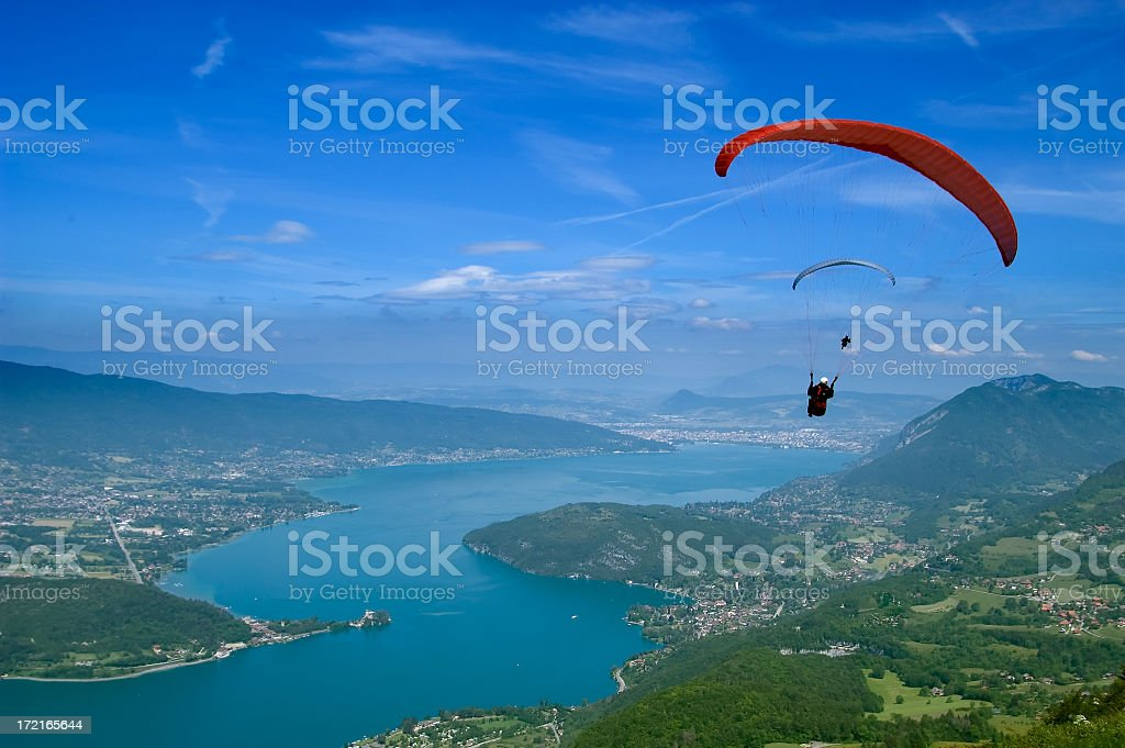 A view of a paraglider on a beautiful landscape stock photo