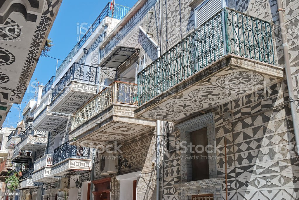 A view of a Pyrgi town on a sunny day stock photo