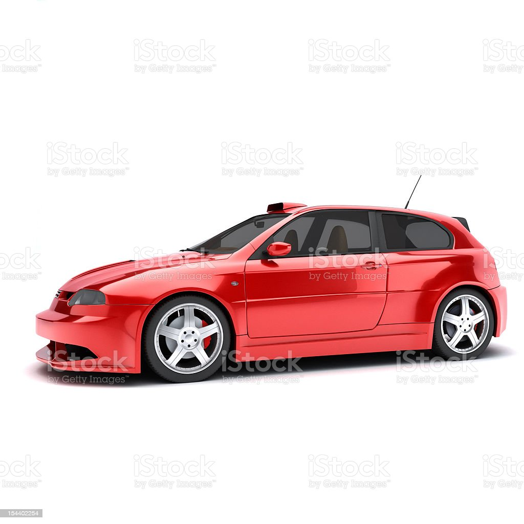 3D view of a red car on a white background royalty-free stock photo
