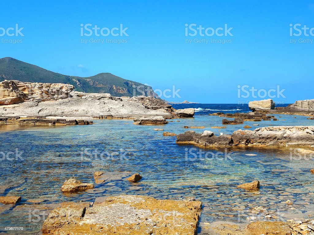 View of a rocky shore of a Sicily island stock photo
