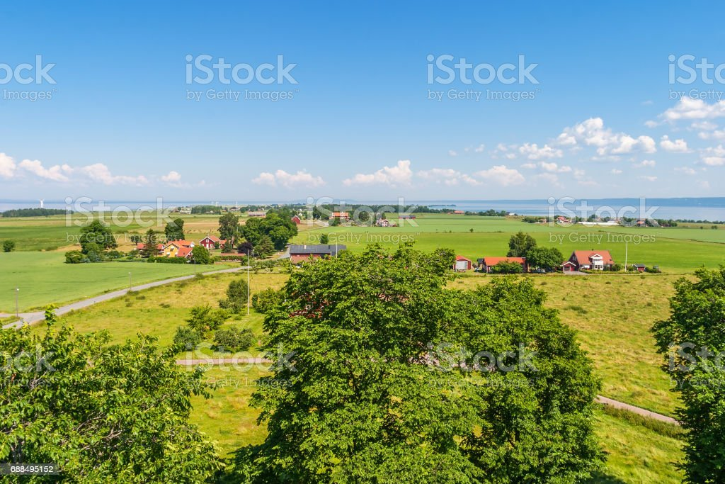 View of a rural landscape on the island of Visingso in Sweden stock photo