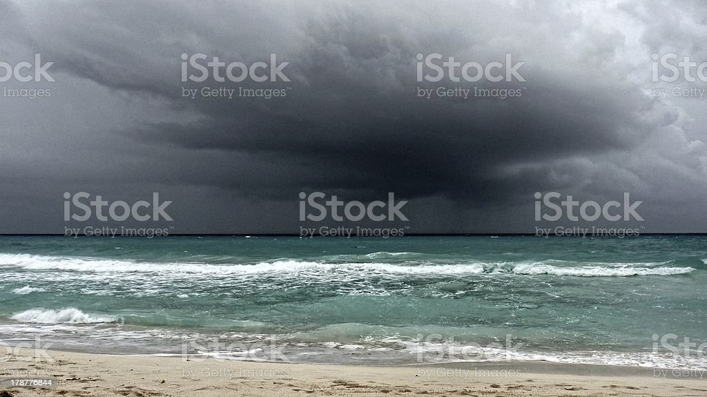 View of a storm on the ocean stock photo