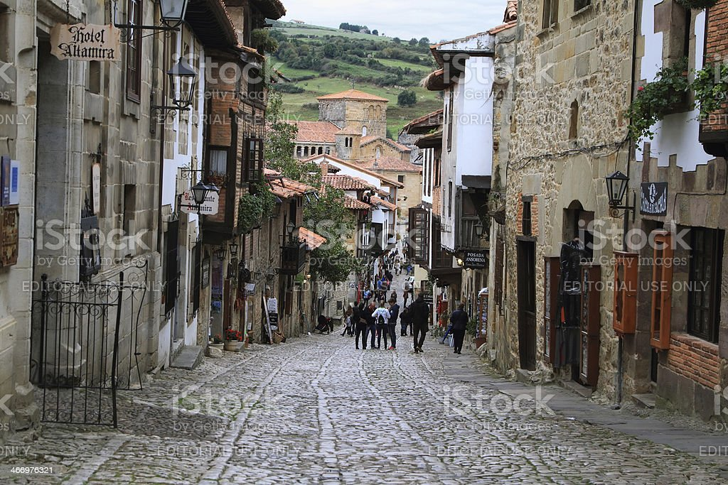 View of a street in Santillana del Mar stock photo