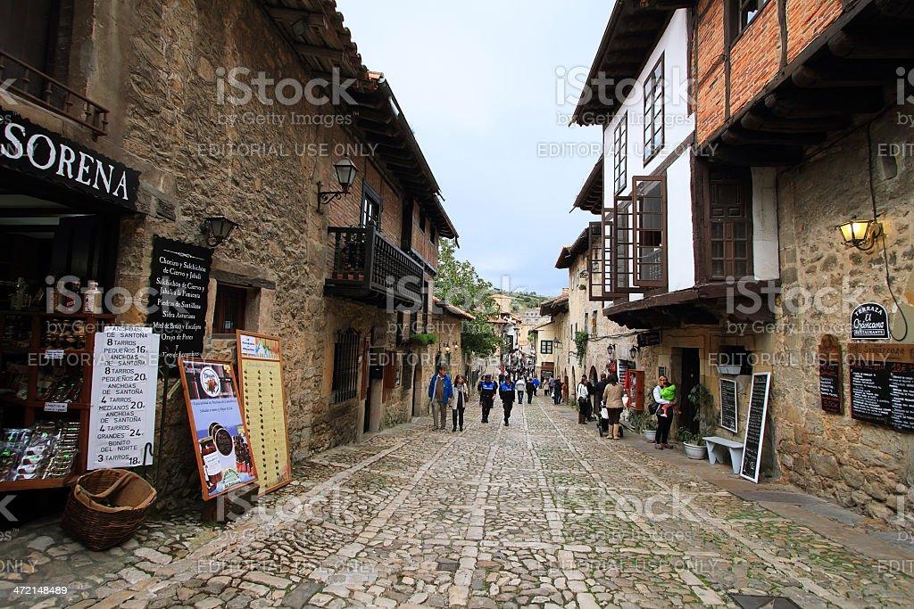 View of a street in Santillana del Mar stock photo