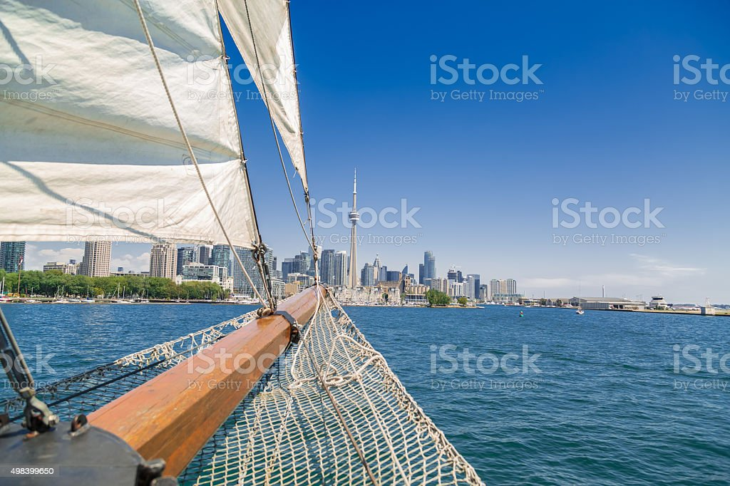 view of a tall ship nose traveling on the lake stock photo