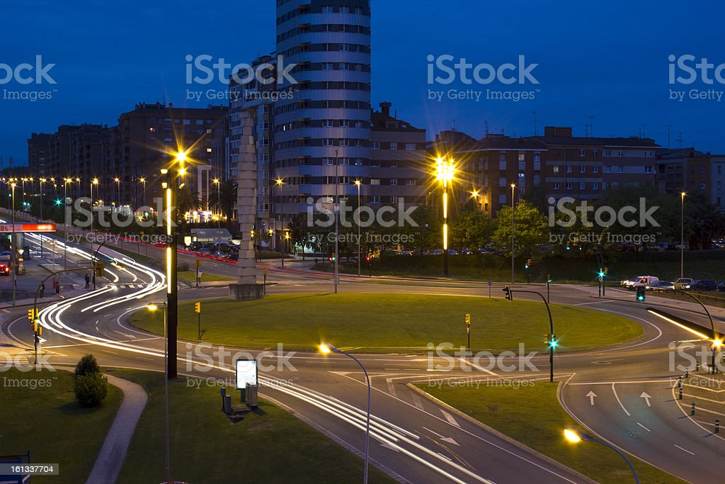 View of a traffic circle in Gijon royalty-free stock photo