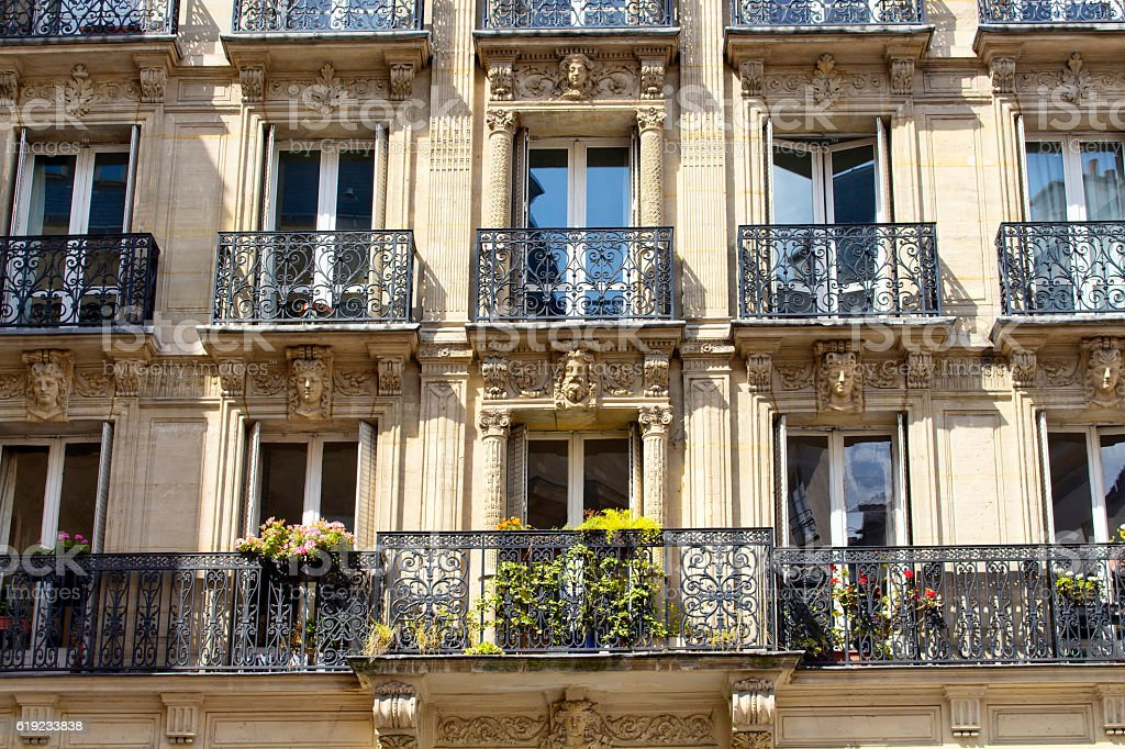 View of a treditional building in Paris stock photo