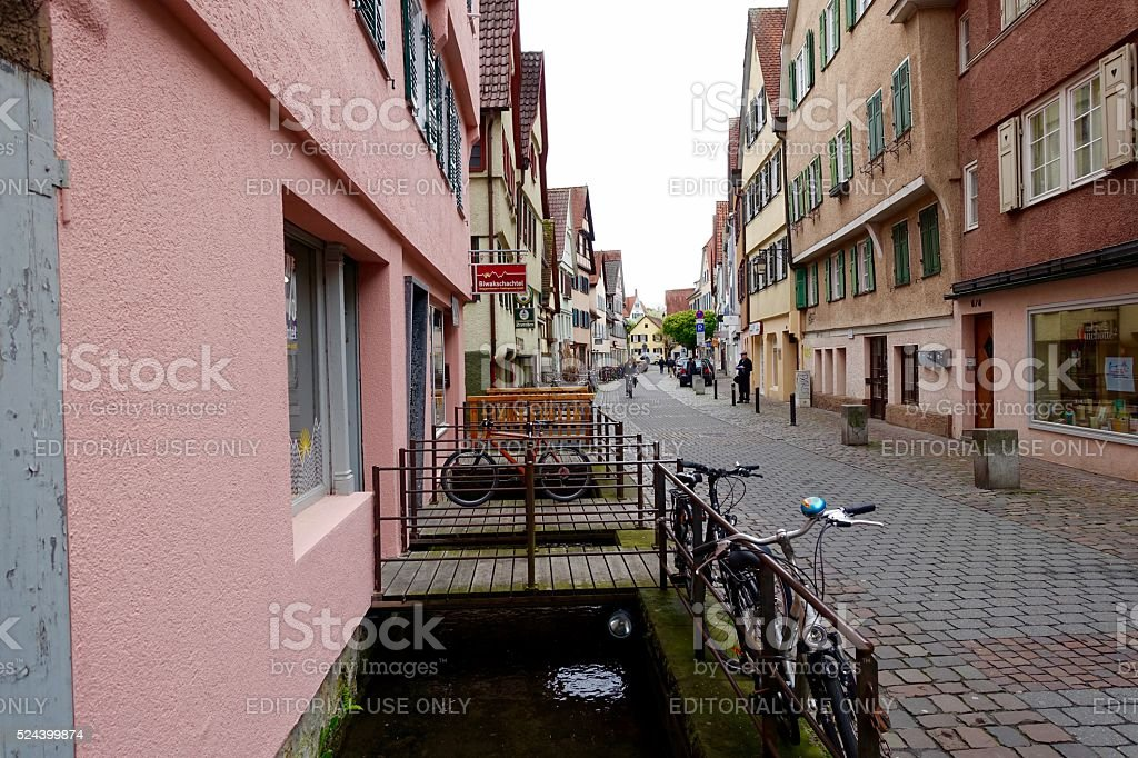 View of a typical cobblestone road in medieval german town stock photo