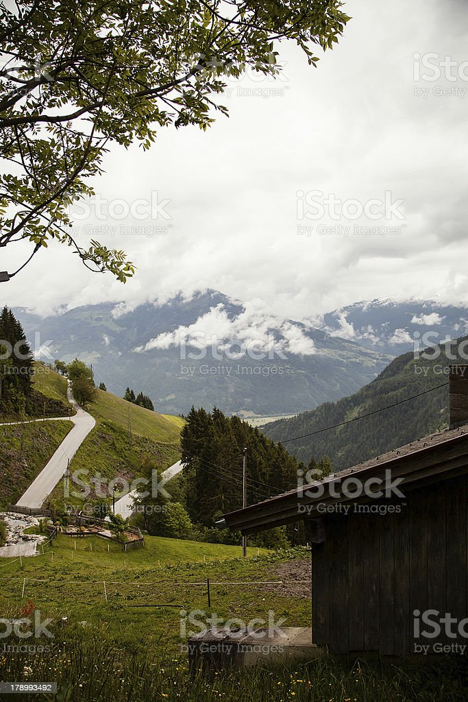 View of a valley in the Alps royalty-free stock photo