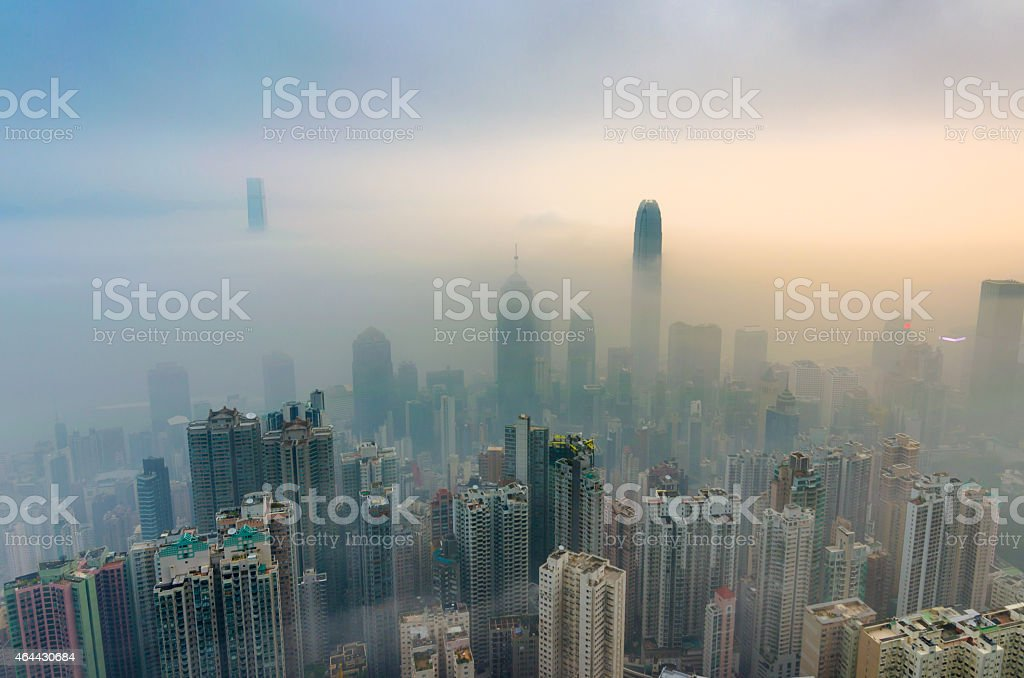View of a very foggy Hong Kong stock photo